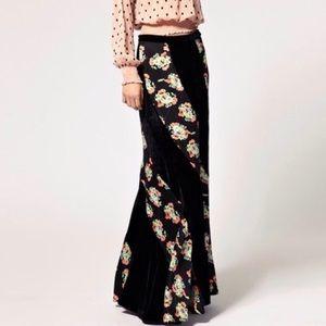 Free People Midnight Twisted Floral Velvet Skirt